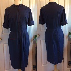 Vintage Navy Blue W/ Red Trim Womans Uniform Dress